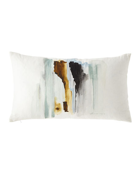 Hand-Painted Breeze Shell Lumbar Pillow