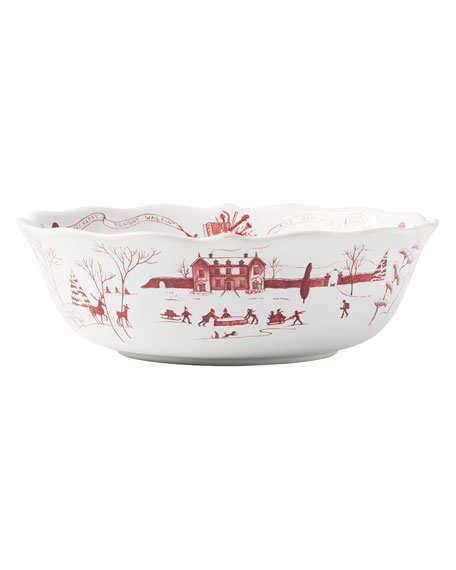 Country Estate Winter Frolic Ruby Serving Bowl