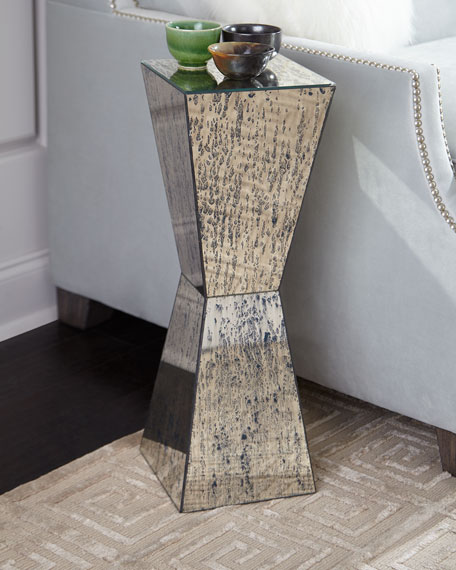 John-Richard Collection Geometric Antiqued Mirror Martini Table