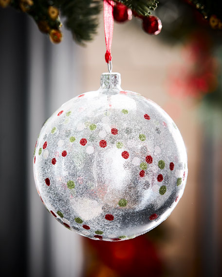 Clear Glitter Dots Ball Christmas Ornament