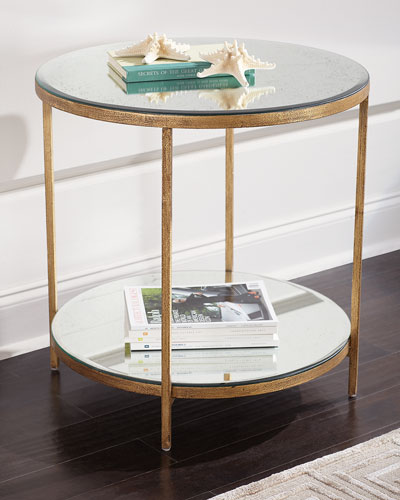 Bronson Antiqued Mirrored Side Table