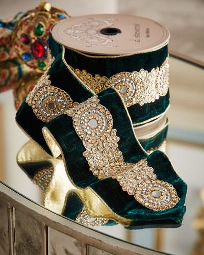 Jeweled Emerald Velvet Holiday Ribbon