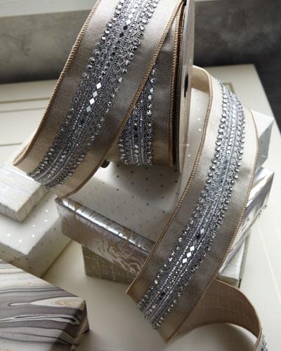 Metallic Satin Holiday Ribbon with Crystals