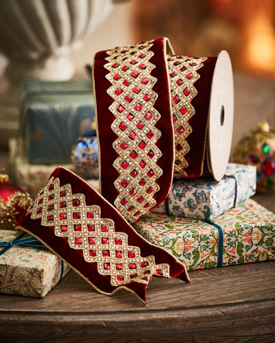 Velvet Jeweled-Trim Holiday Ribbon