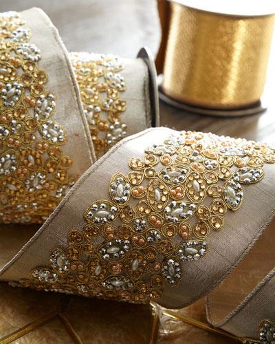 Faux-Metallic Doupioni Jeweled Ribbon