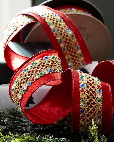 Metallic Doupioni Ribbon with Multicolored Stones