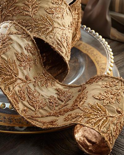 Taffeta Metallic Floral Embroidery Holiday Ribbon
