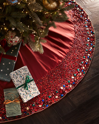 Sparkling Jewel Tones Beaded Tree Skirt