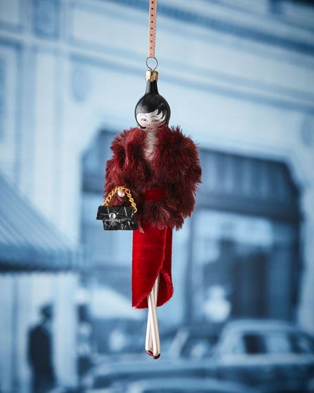 Sarah in Burgundy Faux-Fur Jacket Christmas Ornament
