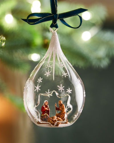 Nativity Teardrop Christmas Ornament