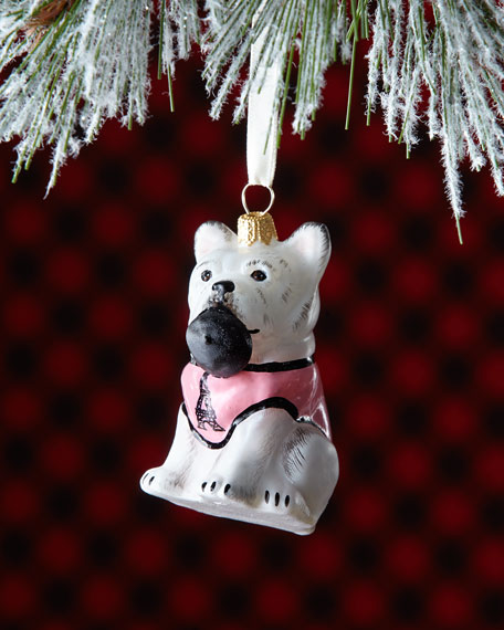 Frenchie Dog with Beret in Mouth Christmas Ornament