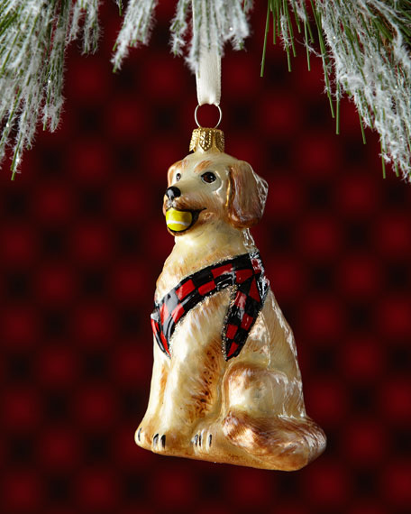 Golden Retriever Dog with Ball Christmas Ornament