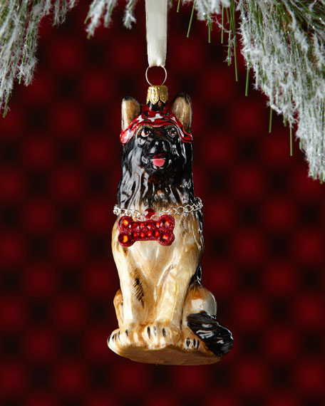 German Shepherd Dog with Thick Chain Collar Ornament