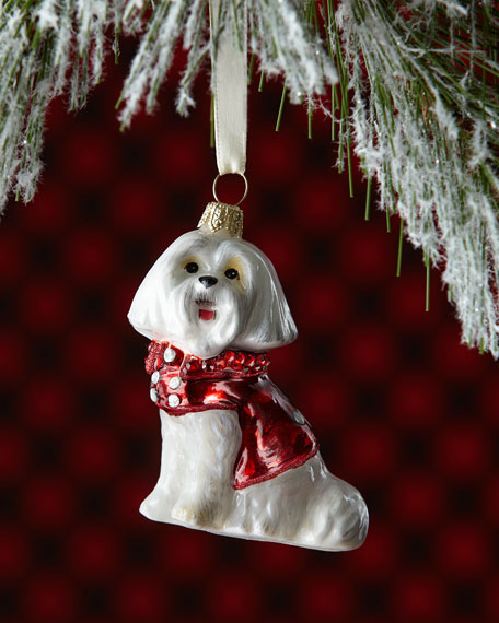 Maltese Dog with Peacoat & Blingy Collar Ornament