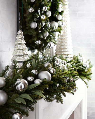 Green Ivy Leaf & Silver Ball Christmas Garland, 6'