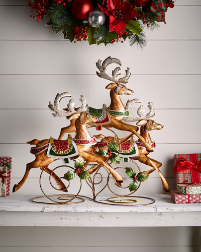 Classic Christmas Prancing Reindeers Decor