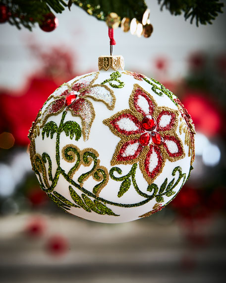 White Glass Ball Christmas Ornament With Flowers Amp Leaves