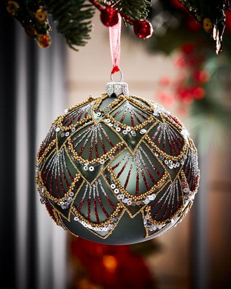 Dark Green Matte Glass Deco Ball Christmas Ornament