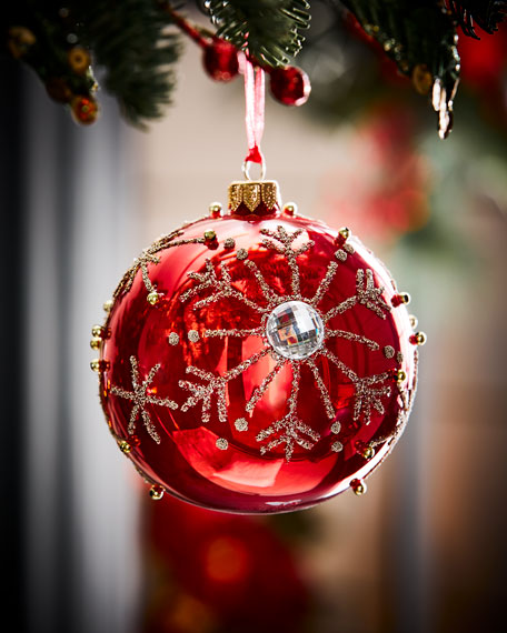 Red Opal Glass Ball Christmas Ornament W Silver Snowflakes