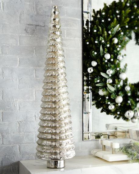 Mercury-Glass Flared Tabletop Christmas Tree, 36