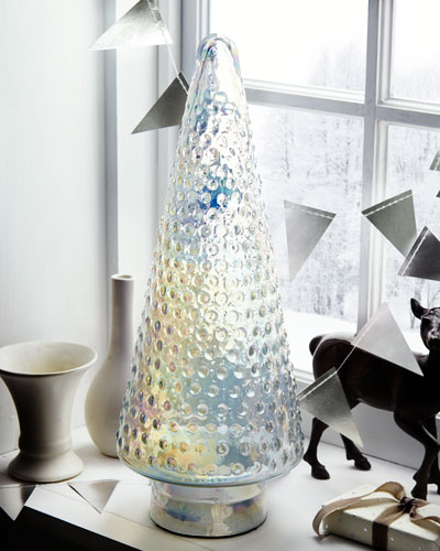 Clear Dotted Glass Tabletop Christmas Tree