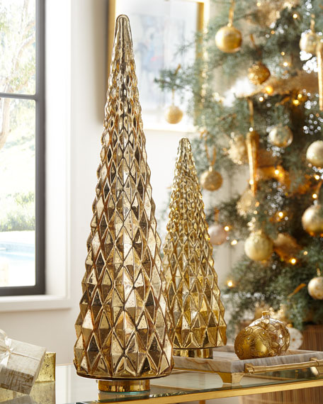 Mercury-Glass Hobnail Tabletop Christmas Tree, Large