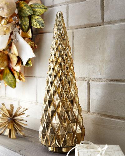 Mercury-Glass Hobnail Tabletop Christmas Tree, Small