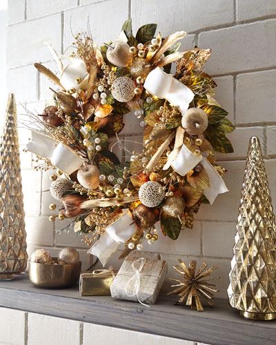 Glimmer & Gold Prelit Wreath, 28