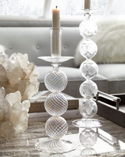 Optic Clear Glass Iridescent Candle Holder, 14