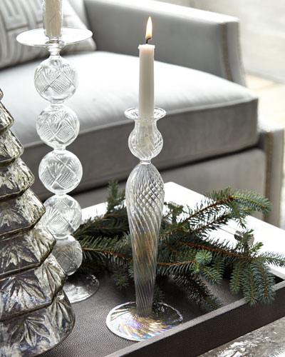 Optic Clear Glass Iridescent Candle Holder, 12