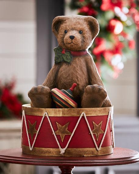 Large Papier Mache Teddy Bear on Drum