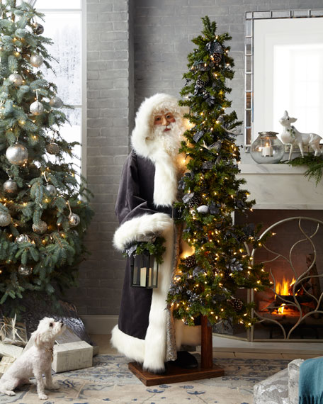 Elegant Pewter Father Christmas with Tree