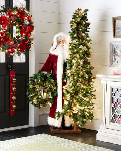 Victorian Season Father Christmas with Tree & Wreath