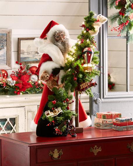 Heritage Santa Santa Holding Bag of Gifts & Tree