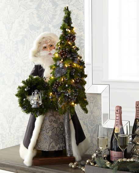 Silent Night Santa with Tree & Wreath