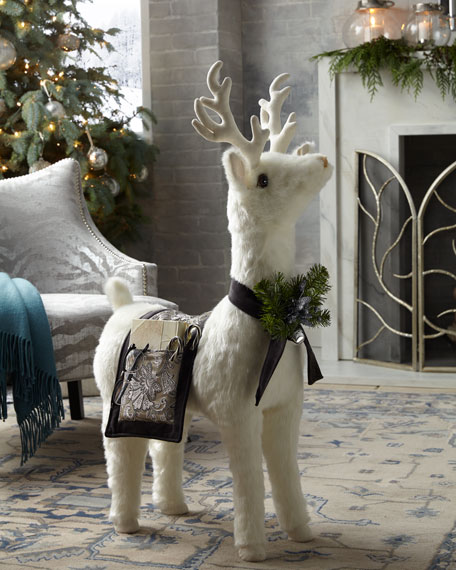 White Reindeer Footrest with Pewter Throw