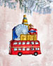 Double-Decker London Bus With Buildings Christmas Ornament