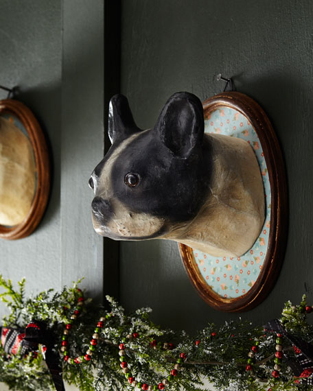 Boston Terrier Dog Wall Mount in Oval Frame