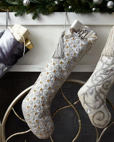 Beaded Snowflakes Grid Tissue Stocking