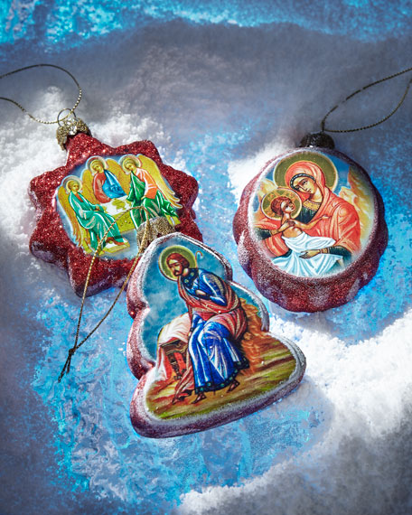 Story of Nativity Glass Ornaments, Set of 3
