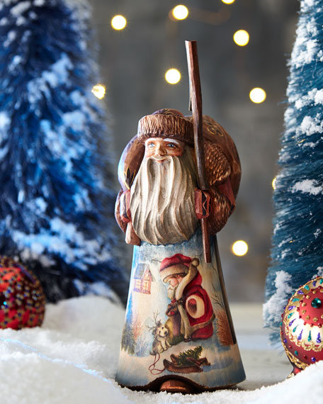 Christmas Fun Wood-Carved Santa