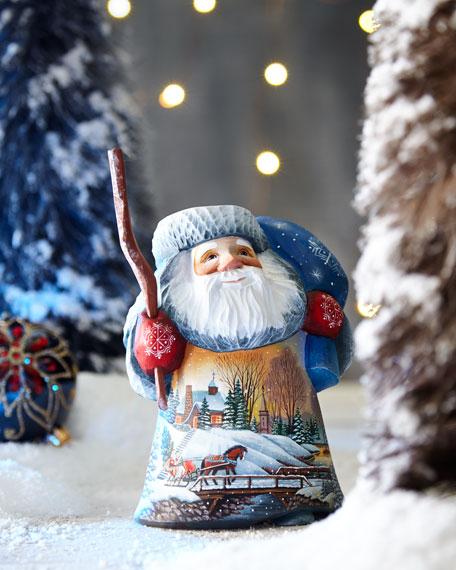 Lighted Village Sledding Wood-Carved Santa