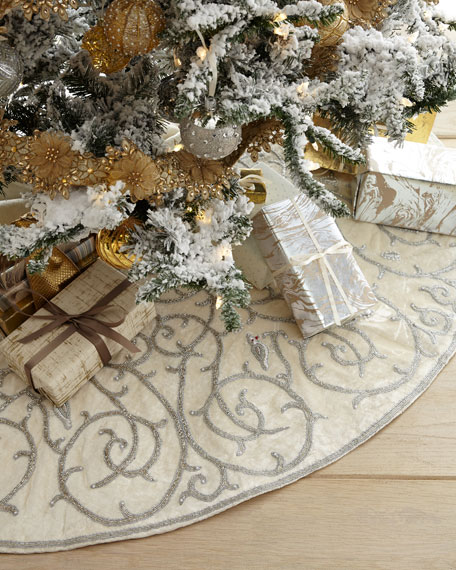 Partridge in a Pear Tree Beaded Velvet Tree Skirt