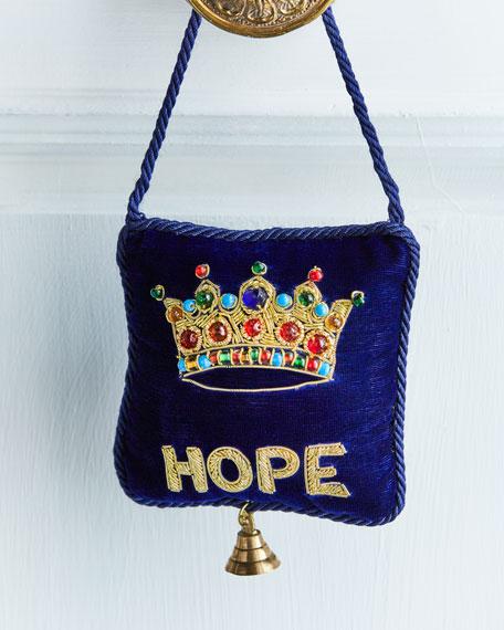 Embroidered Crown and Hope Velvet Door Knocker
