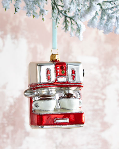 Espresso Machine Glass Christmas Ornament
