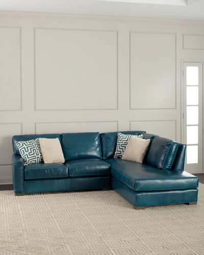 Shariah Leather Right-Chaise Sectional 102
