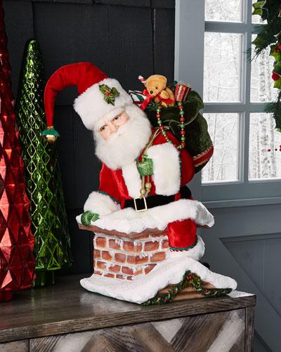 Santa Climbing Chimney Tree Topper