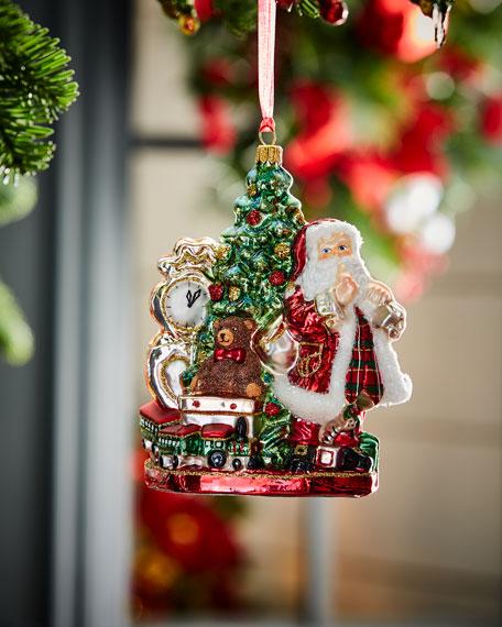 Santa With Tree & Clock Christmas Ornament
