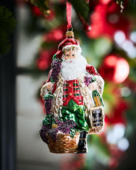 2018 Annual Vintner Santa with Wine Bottle Ornament