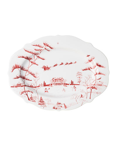 Country Estate Winter Frolic Ruby Serving Platter Christmas Eve